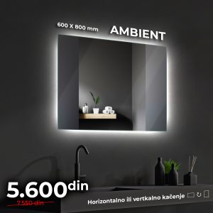 LED OGLEDALO AMBIENT 80 x 60 cm